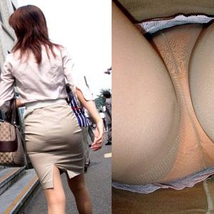 【パンチラ画像】タイトスカートOLさんの逆さ撮りで下着の食い込みが半端ないwww