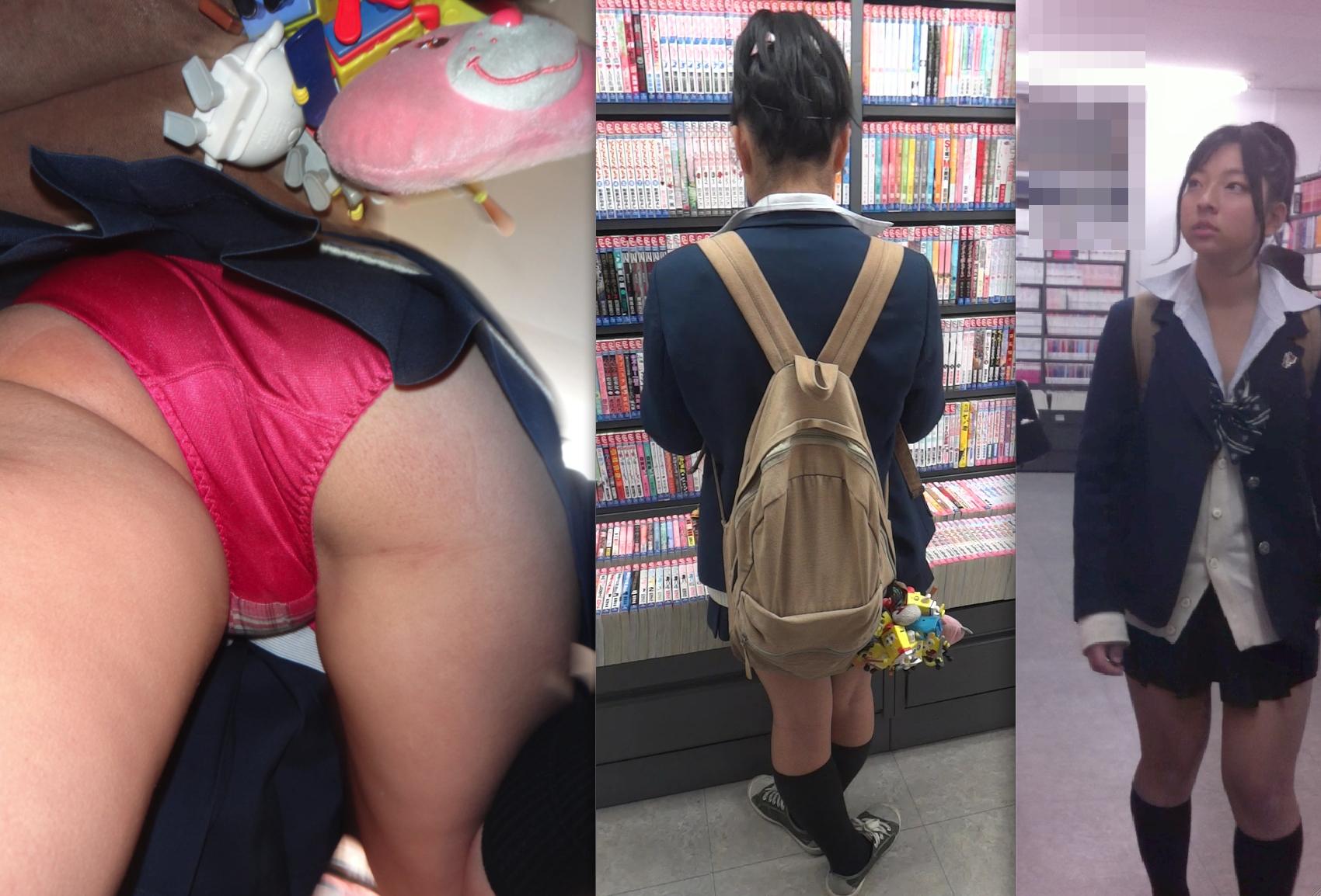【JK逆さ撮りエロ画像】ブック○フで立ち読みしている素人女子校生の生々しいパンツが至高www